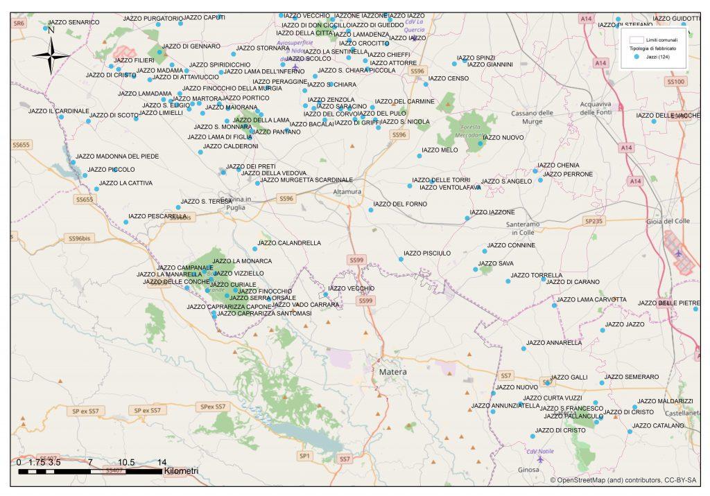 La mappa degli jazzi nell'alta Murgia Pugliese