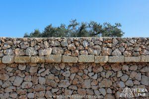 Muro di cinta a secco con cordonatura semplice.